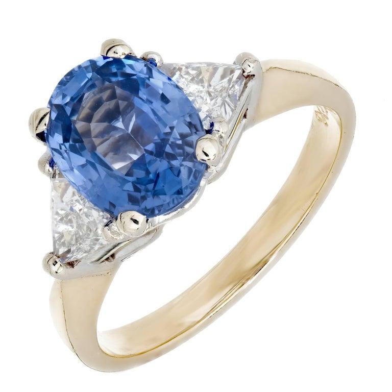 2.08 Carat Oval Sapphire Diamond Gold Three-Stone Engagement Ring