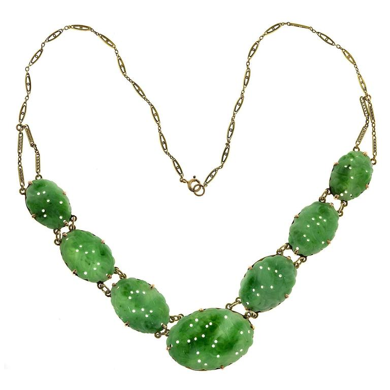 Seven Stone Oval Natural Jadeite Jade Gold Pendant Necklace  For Sale