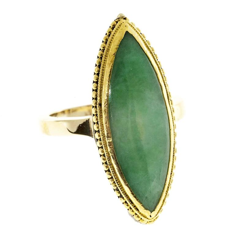 marquise jadeite jade gold ring at 1stdibs