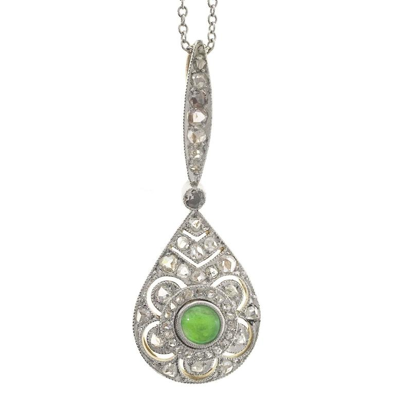 Victorian Natural Jade Imperial Diamond Platinum Gold Pendant Necklace