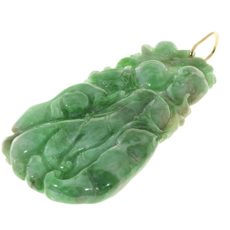 Women's GIA Certified Large Carved Jadeite Jade Gold Pendant  For Sale