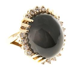 Black Onyx Diamond Dome Gold Cocktail Ring