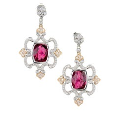 Charles Krypell Pink Tourmaline Diamond Gold Dangle Earring
