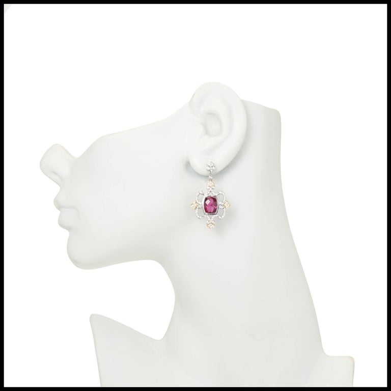 Charles Krypell rose and white 18k gold dangle earrings with pink Tourmaline and fine white full cut diamonds.  Stamped: C. Krypell 2 cushion pink Tourmaline 9.5 x 7mm, approx. total weight 5.03cts 139 round full cut diamonds approx. total weight