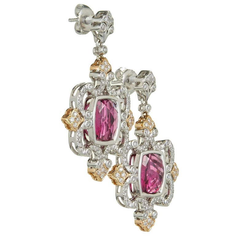Charles Krypell Pink Tourmaline Diamond Gold Dangle Earring In Good Condition For Sale In Stamford, CT