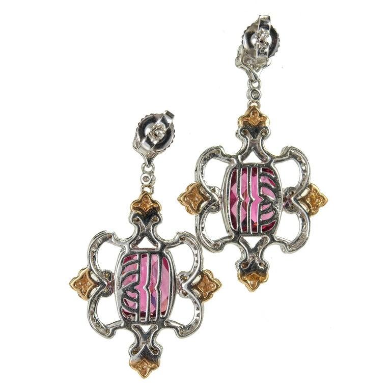 Women's Charles Krypell Pink Tourmaline Diamond Gold Dangle Earring For Sale