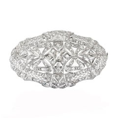2.85 Carat Art Deco Diamond Platinum Oval Brooch