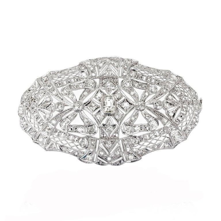 2.85 Carat Art Deco Diamond Platinum Oval Brooch