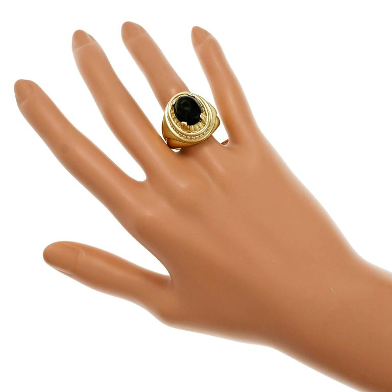 Cabochon Tourmaline Diamond Textured Gold Cocktail Ring For Sale 2