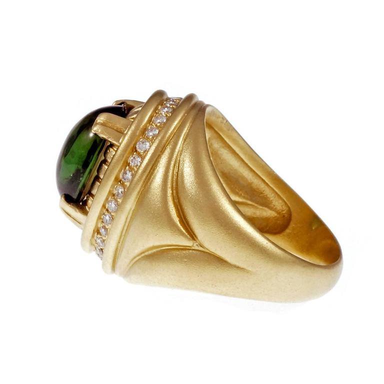 Cabochon Tourmaline Diamond Textured Gold Cocktail Ring For Sale 1