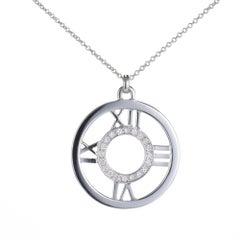 Tiffany & Co. Diamond Round Atlas Numerical Gold Necklace Pendant