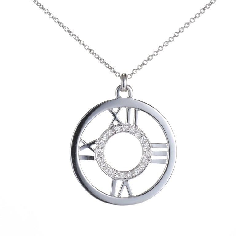 Tiffany & Co. Diamond Round Atlas Numerical Gold Necklace Pendant For Sale