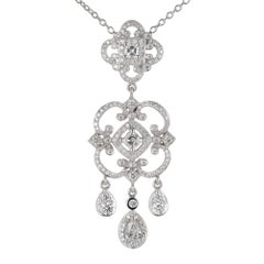 Penny Preville 1.59 Carat Diamond Gold Chandelier Style Pendant Necklace