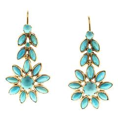 Natural Persian Turquoise Gold Dangle Earrings