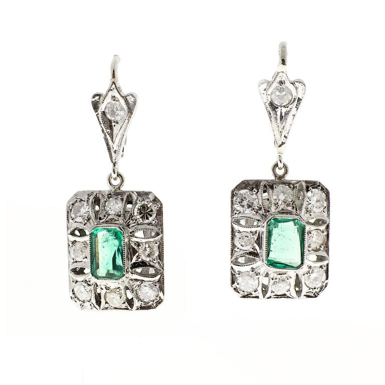 GIA Certified Cololmbian Emerald Diamond Platinum Dangle Earrings