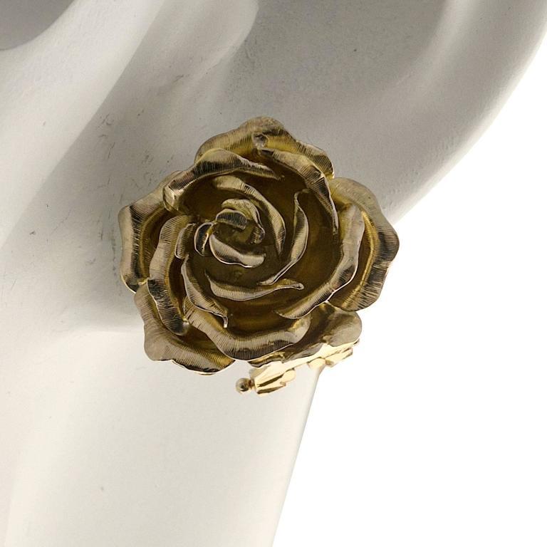 Tiffany & Co. Green Gold 3-D Clip Post Flower Earrings 7