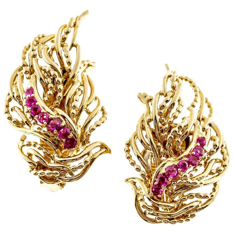 Tiffany & Co. Ruby Flame Gold Clip Post Earrings 2