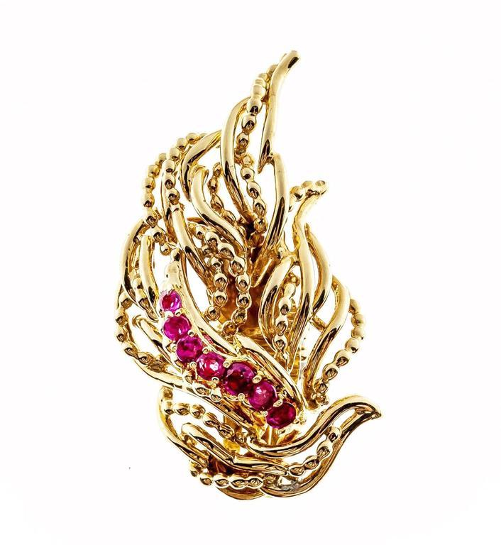 Tiffany & Co. Ruby Flame Gold Non Pierced Clip Back Earrings 3