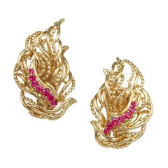 Tiffany & Co. Ruby Flame Gold Clip Post Earrings