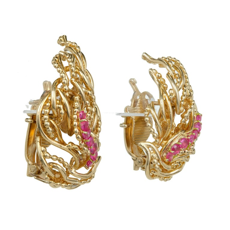 Tiffany & Co. Ruby Flame Gold Clip Post Earrings 3