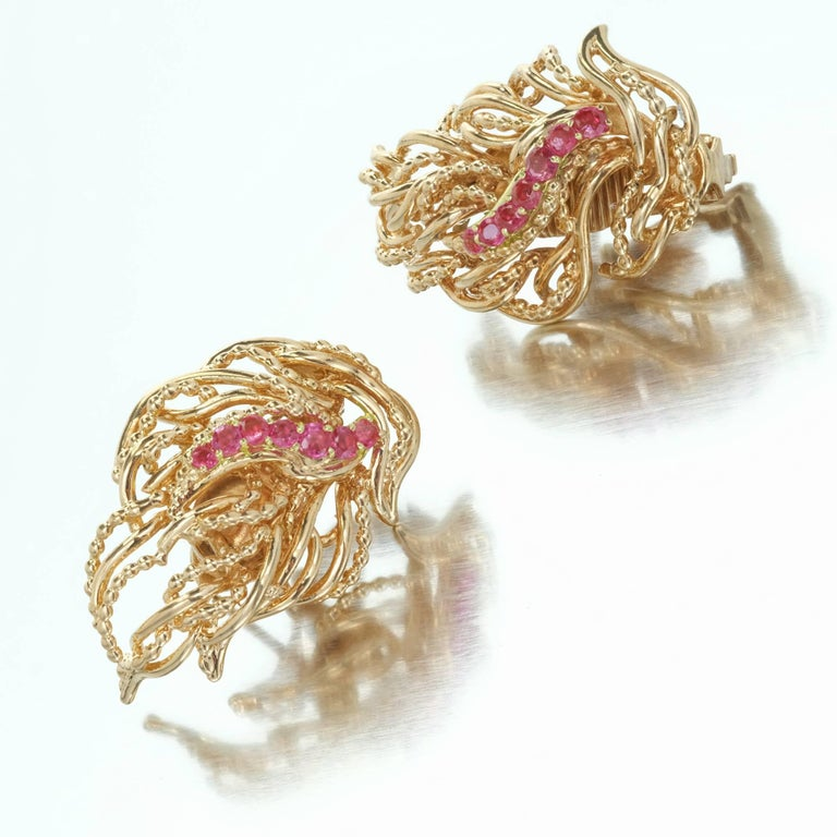 Tiffany & Co. Ruby Flame Gold Clip Post Earrings 5
