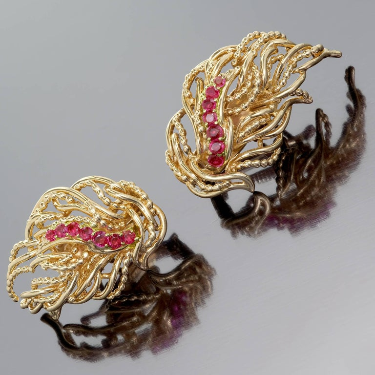 Tiffany & Co. Ruby Flame Gold Clip Post Earrings 6