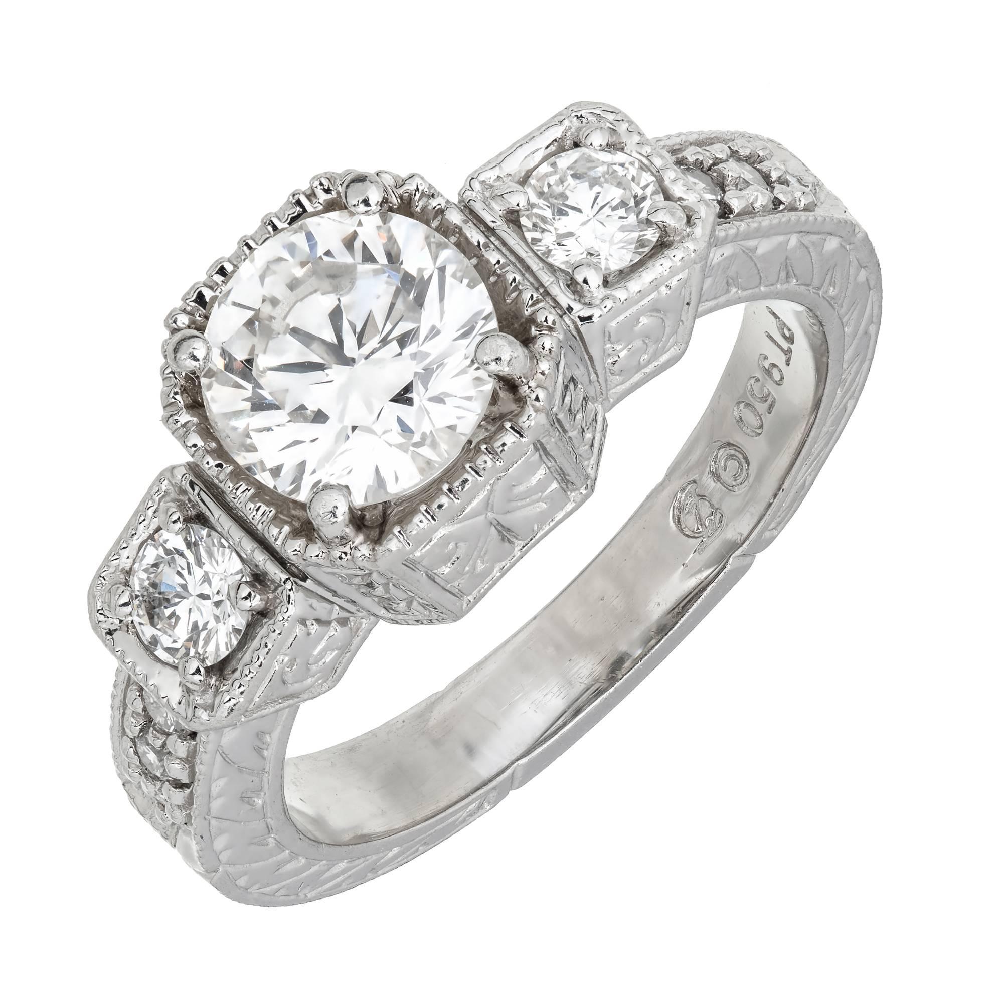 EGL Certified 1.27 Carat White Diamond Three-Stone Platinum Ring