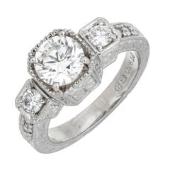 EGL Certified 1.27 Carat White Diamond Three-Stone Platinum Ring