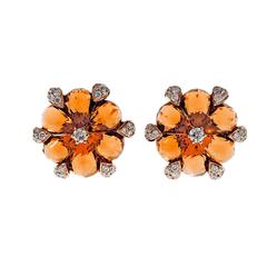 Citrine Diamond Round Flower Rose Gold Earrings