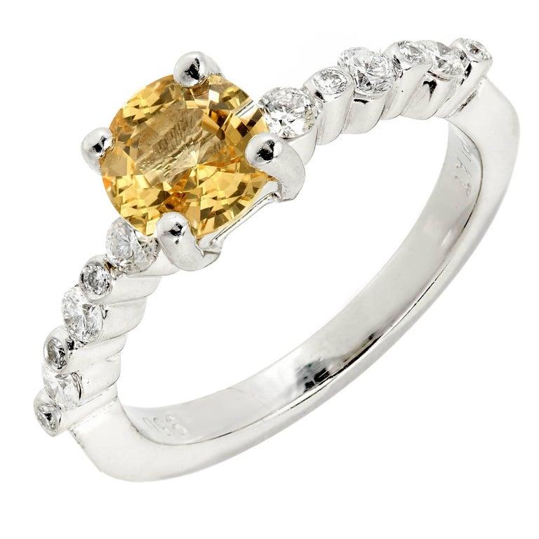 1.05 Carat Natural Fancy Yellow Sapphire Diamond Platinum Engagement Ring