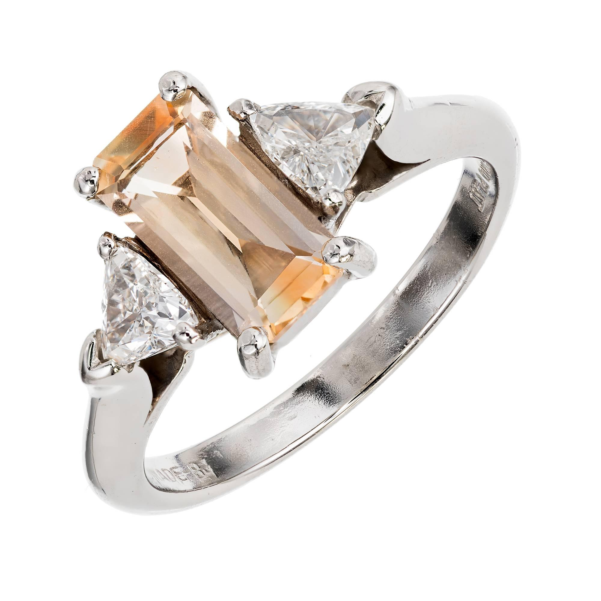 peter suchy 144 carat natural sapphire diamond threestone platinum ring