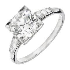 EGL Certified 1.62 Carat Certified Art Deco Diamond Platinum Engagement Ring