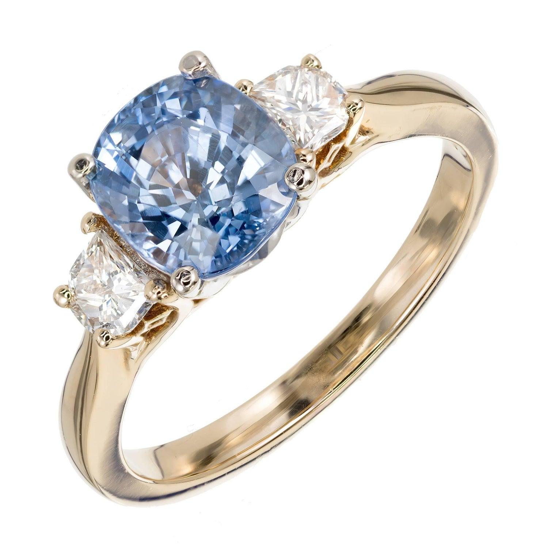 peter suchy 2 22 carat blue sapphire diamond three stone gold