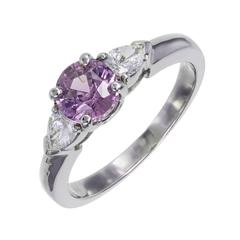 GIA Certified .94 Carat Purple Sapphire Diamond Platinum Engagement Ring