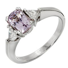 1.20 Carat Natural Light Purple Spinel Diamond Platinum Engagement Ring