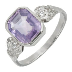 2.78 Carat Purple Octagon Sapphire Diamond Platinum Engagement Ring