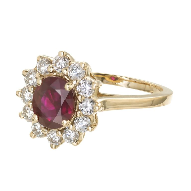 1.51 Carat Red Ruby Diamond Halo Yellow Gold Engagement Ring In Good Condition For Sale In Stamford, CT