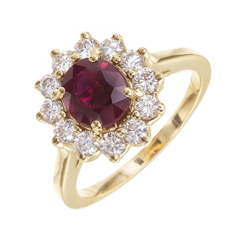 1.51 Carat Red Ruby Diamond Halo Yellow Gold Engagement Ring For Sale