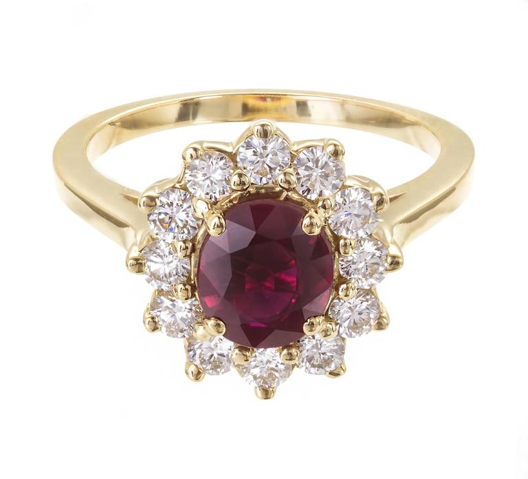 Red Ruby Diamond Yellow Gold Ring
