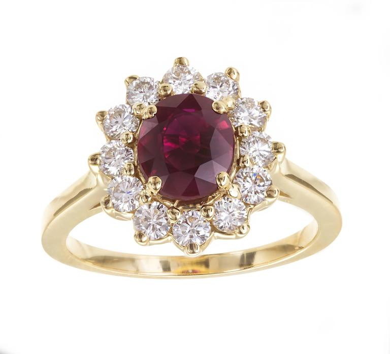 Oval Cut 1.51 Carat Red Ruby Diamond Halo Yellow Gold Engagement Ring For Sale