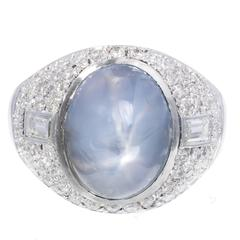 5.00 Carat Art Deco Violet Blue Star Sapphire Diamond Platinum Cocktail Ring
