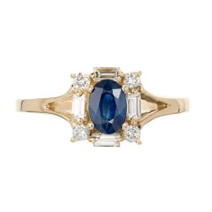 Oval Sapphire Diamond Round Baguette Halo Gold Engagement Ring