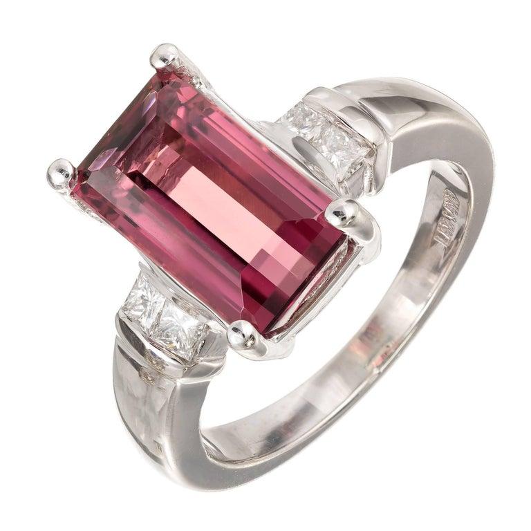 3.85 Carat Natural Pink Tourmaline Diamond Gold Cocktail Ring