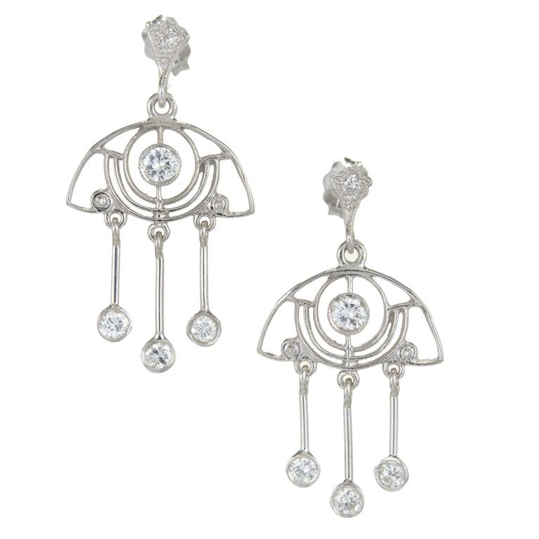 .64 Carat Diamond Platinum Dangle Chandelier Earrings For Sale