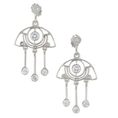 .64 Carat Diamond Platinum Dangle Chandelier Earrings