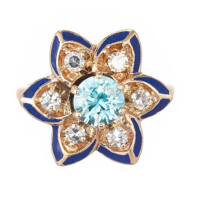 Blue Zircon Diamond Black Enamel Yellow Gold Flower Cocktail Ring