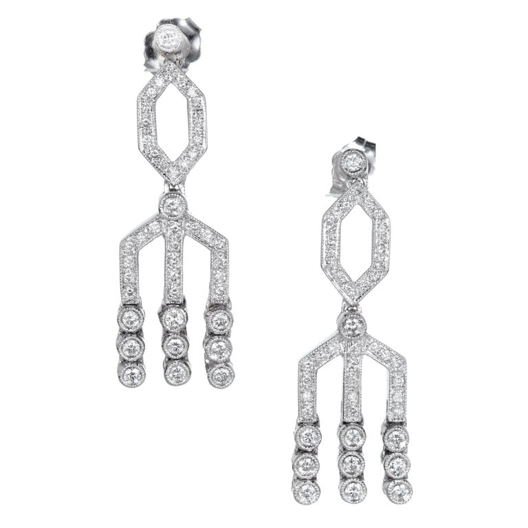 1.00 Carat Diamond Gold Dangle Chandelier Earrings, circa 1950s