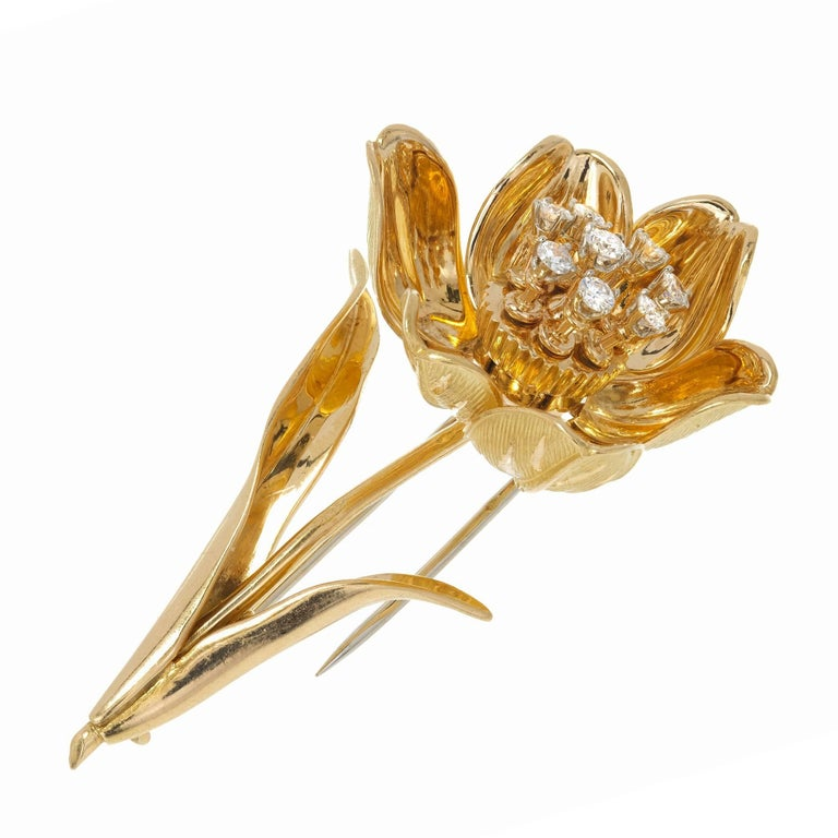 Midcentury En Tremblant Diamond Yellow Gold Flower Brooch