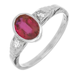 Art Deco Red Oval Natural Ruby Diamond Platinum Engagement Ring