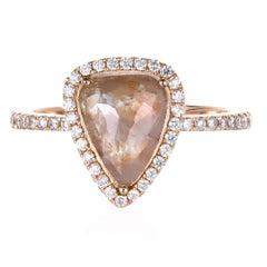 1.34 Carat Pear Diamond Rose Gold Engagement Ring